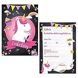 Oblique-Unique® 6 x Einladungskarten zur Einhornparty Geburtstagseinladungen Jungen Mädchen Kinder Unicorn Einhörner Karten Set