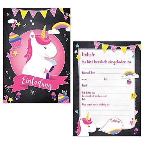 Oblique-Unique® 6 x Einladungskarten zur Einhornparty Geburtstagseinladungen Jungen Mädchen Kinder...