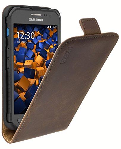 mumbi PREMIUM Leder Flip Case für Samsung Galaxy Xcover 3 Tasche braun