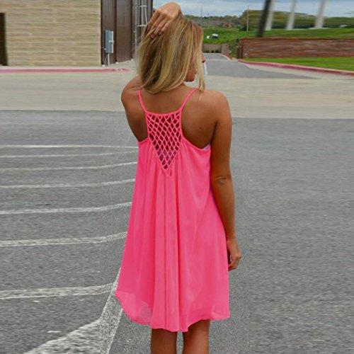 Transer ® Vêtements femme lâche dos Howllow Out été plage de mousseline de soie robe courte Rose vif
