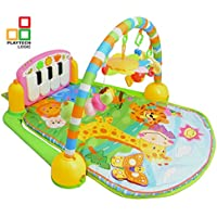 PTL® - Alfombrilla de juegos para bebé, gimnasio y actividades musicales para niños 4 en 1 Kick and Play Piano Gimnasio, juguetes suaves, batalla, luz y sonido, alfombra de juego para niños recién nacidos de 0 a 36 meses (azul)
