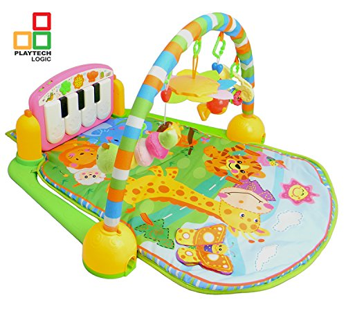 matte Musical Activity Spieldecke Mädchen Jungen in Kick und Play Piano Gym, weiche Spielzeug, Rassel, Licht & Sound Play Matte Discovery Teppich für Kinder Kleinkinder Neugeborene 0–36Monate (blau) (Kleine Mädchen-mode-boutique)