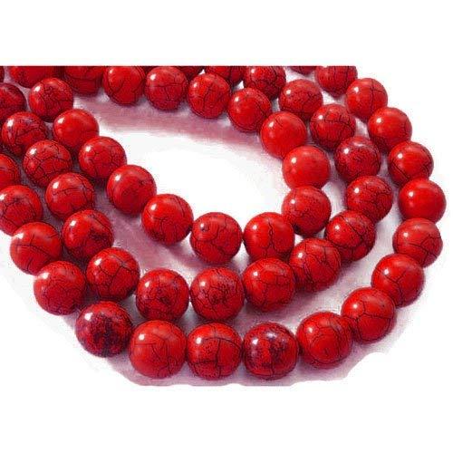 Strang 38+ Dunkel-Rot Howlith 10mm Gefärbt Rund Perlen GS2424-3 (Charming Beads) -