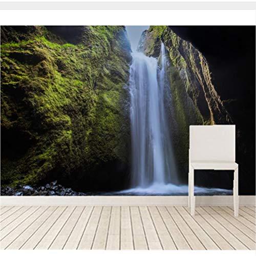 Meaosy Benutzerdefinierte 3D-Wandbilder, Island Wasserfälle Moss Crag Natur Tapeten, Wohnzimmer Sofa Tv Wand Kinder Schlafzimmer-280X200Cm