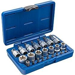 """Satz TX SET-23 Torx Steckschlüssel 23 teilig Antrieb 12,5mm (1/2"""") Nüsse Set Nusssatz Stecknüsse Biteinsätze Steckschlüsseleinsätze Torxset Torxsatz Innen Außen Werkzeug"""