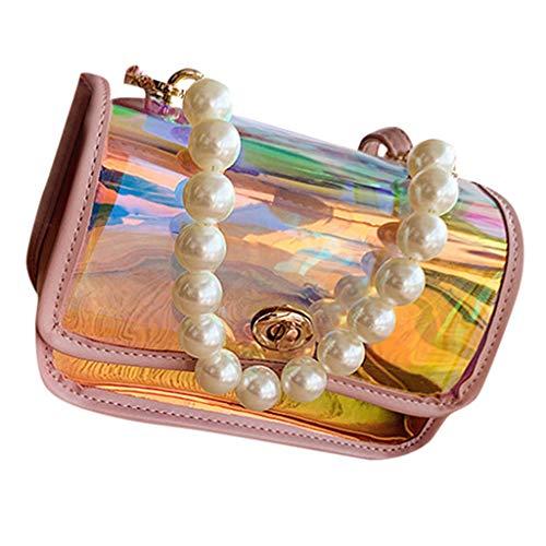 Linkay Neuer HeißEr Verkauf Mode Wild Damen Gelee Polarisiert Licht Tasche Handtasche Perlenkette Handtaschen UmhäNgetasche Rucksack-Rosa