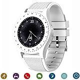 CanMixs Relojes Inteligentes Smart Watch Bluetooth CM08 Tarjeta SIM TF con notificación de cámara Sincronización Reloj Deportivo Compatible con iPhone Android iOS Teléfonos Samsung LG (Blanco)
