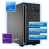 M&M Computer Dresden High End Silent Gaming PC, Intel Core i7-7700K Prozessor Kaby Lake max. Speed, NVIDIA GTX 1060/6GB Gaming Grafikkarte, VR+4K ready, 256GB SSD M.2 (NVMe) Samsung, 2000GB SATA3 Festplatte, 16GB DDR4 RAM 2400MHz, Gigabyte Gamer Prime Mainboard USB3.1, DVD-Brenner, gedämmtes BeQuiet-Gehäuse, Windows 10 Pro vorinstalliert inkl. Treiber, Bestseller