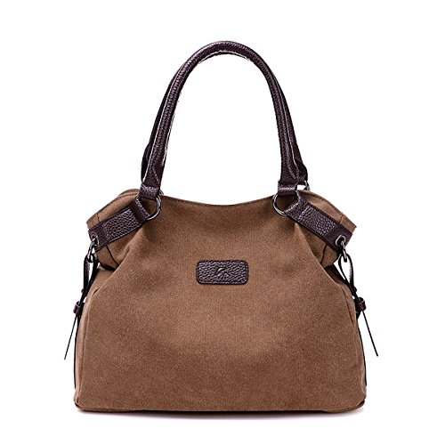 Pioneeryao, Borsa tote donna Brown