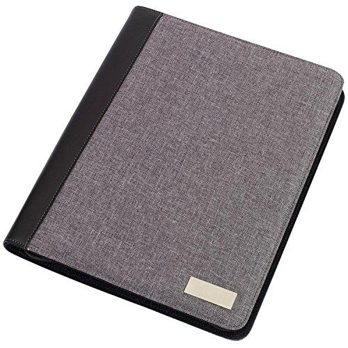 Portfolio Din A4, Dokumentenmappe nutzbar als Schreibmappe Linen inkl Schreibblock + Rechner Grau 33 x 26 x 2,3 cm -