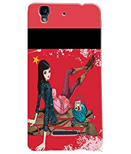 Fuson Shopping Girl Back Case Cover for MICROMAX YU YUREKA - D3721