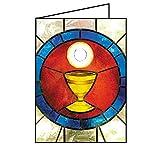 10er-Pack Kommunionkarte, Konfirmationskarte - Christliche Grußkarten A6 Klappkarte - Brot und Wein, Glasfenster