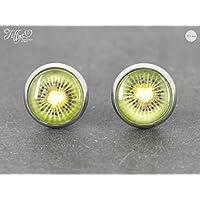 Ohrstecker Edelstahl * Cabochon- Kiwi- grün, gelb, schwarz -10 mm