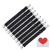 Joseche verstellbare Bettlakenspanner, 8 Stück, Schwarz, elastisch, für die Ecken von Bett, Matratze oder Sofa (Schwarz [8 Pack])