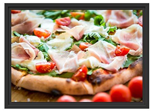 Pizza mit Parmaschinken im Schattenfugen Bilderrahmen | Format: 55x40 | Kunstdruck auf hochwertigem Galeriekarton | hochwertige Leinwandbild Alternative