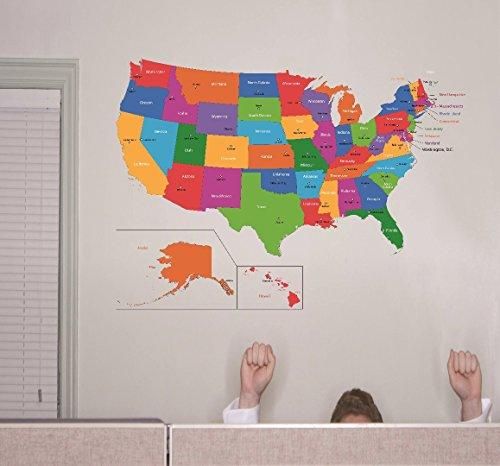 Wand Aufkleber Verkauf: Vereinigten Staaten von Amerika World Map Klassenzimmer Schule Kinder Lehrer Schüler Colorful Learning Teaching Größe: 50,8x 76,2cm (Vereinigte Staaten-map-kunst)