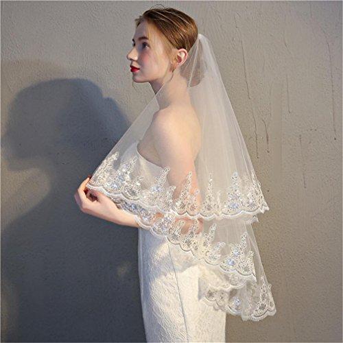 Velo nuziale da sposa paillettes di pizzo garza doppia con pettine inserto avorio bianco / bianco , pure white