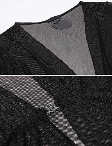 ADOME Damen SemiTransparent Netz Schieres Kimono Robe Morgenmantel ...