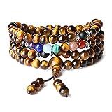 COAI Geschenkideen Buddhistisches Wickelarmband 7 Chakra Tigerauge Gelb Gebetsarmband Mala Halskette für Damen und Herren