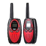 PRIKIM Walkie Talkies para niños con PPT/VOX Radio de 2 vías 3 KM de largo alcance y sonido claro (1 par) Rojo