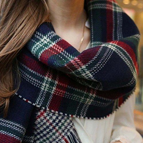 VLUNT Echarpe Longue Douce et Chaude Surdimensionnée Automne/Hiver pour Femme Foulards Tartan Châle Long Etole Filage de la laine Cadeau Noël Noir et Blanc B