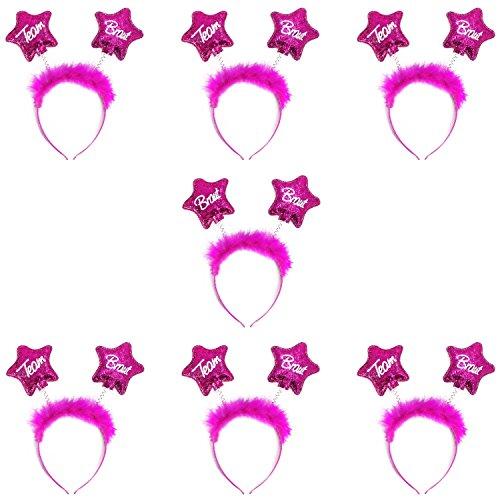 Oblique Unique® Braut + Team Braut Haarreifen Set für Junggesellinnenabschied JGA Hochzeit in Pink