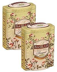 Basilur   White Magic Tea   Rare Milk Oolong Green Tea   Ultra- Premium Ceylon Green Loose Tea   Bouquet Collection   Single Origin   Non GMO   100g / 3.52 oz. Tin Caddy   (Pack of 2)