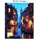 Paint By Number - Venice Night DIY Digital Oil Painting By Numbers Canvas Wall Picture Home Decor D08F (WITH Frame 40x50cm)