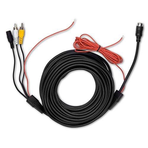 Carmedien 15 Meter Rückfahrkamera Anschlusskabel 15m Cinch Verbindungskabel auf 4-Pin Schraubverschluss (RCA, Audio, Video) mit Schaltimpuls und 12-24V Spannungsversorgung Cinch-audio-verbindungskabel