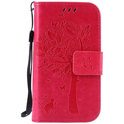 Preisvergleich Produktbild Anlike Samsung Galaxy S3 mini I8190 (4 Zoll) Hülle, Katzen Baum Muster PU Leder Flip-Case / Brieftasche / Wallet Etui /Lederhülle / Handy Schutzhülle / Bookstyle Cover / Handy Zubehör / Lederhülle / Handyhülle mit Bookstyle mit Standfunktion Kredit Kartenfach - Rose