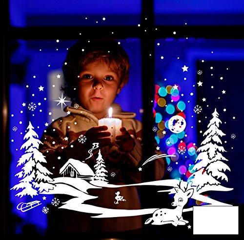 Fensterbild Fensterdeko Winterbild Schneekristalle Sterne mit Reh und Ente die Schlittschuhe läuft M1700 - ausgewählte Farbe: *Weiß* - ausgewählte Größe: *XL -...