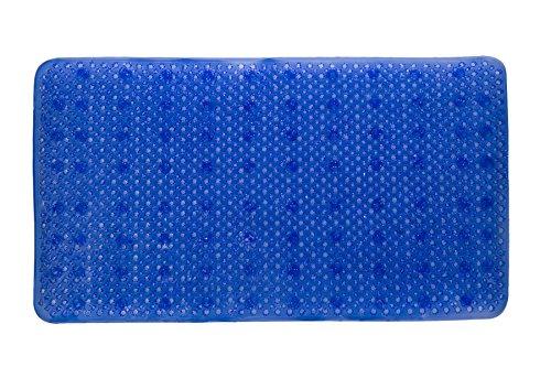 YHLCSQ Weich Wie Gras Bad-Teppiche Dusche und Badewanne Matte Fuß Scrubber Rutschfest Antibakteriell Maschinenwaschbar PVC Saugnapf Rechteck 25× 35,6cm Blau (Fuß Scrubber Matte)