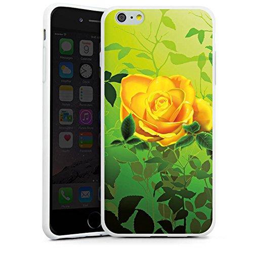 Apple iPhone X Silikon Hülle Case Schutzhülle Gelb Rose Blume Silikon Case weiß