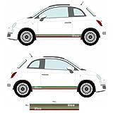 FIAT 500Italienische Flagge Seite Rock Aufkleber Auto Aufkleber Graphic Stripe (SS20003)