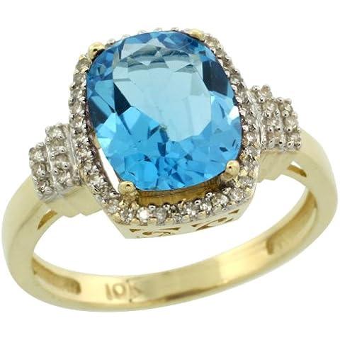 Oro giallo 14 k, con pietra portafortuna per il mese di dicembre, con topazio blu e diamanti Anello di fidanzamento