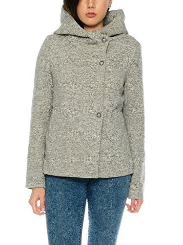 ONLY Damen Jacke onlFairy Mel Hooded XS-XL geknöpft mit Kapuze, Größe:L, Farbe:Hellgrau (Warme Kurze Down Coat)