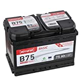 Accurat Autobatterie B75 Basic 12V 75Ah 710A Kaltstartkraft, Starterbatterie Blei-Säure Calcium-Technologie, hohe Startleistung. geladen & wartungsfrei