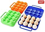 VOLTAC ™ Portable Plastic Egg Carry Holder Carrier Storage Box For 12 Pcs Egg - 1 Pc Random Color Pattern #139994