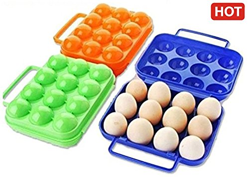 SR Global Foldable Camping Picnic Carry 12 Eggs Container Holder Case Box New 1Pc Random Colour Model 216741