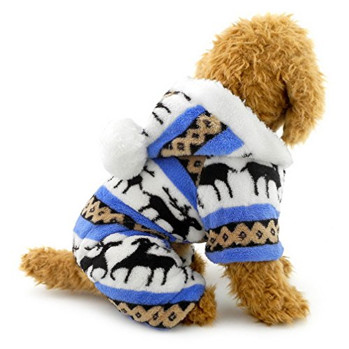 Ranphy Small Dog Cat Clothes for Boy Girl Soft Velvet Reindeer Pattern Dog Pajamas Puppy Hoodie Hooded Jumpsuit