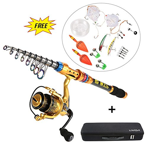 Lixada Spinner Set Fishing Rod Angel Stange mit Kunstköder (2.7m)