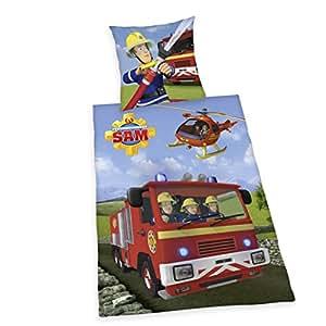 Herding 4470217050412 Feuerwehrmann Sam Bettwäsche, Baumwolle, Blau, 135 x 200 cm