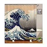 SonMo Duschvorhang Japanischen Stil Wellenmuster Polyester Weiß Anti-Schimmel Wasserdicht Anti-Bakteriell Badezimmer Vorhänge mit Duschvorhangringen als Trennwand 180×200CM