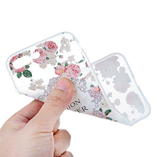 MAXFE.CO TPU Silikon Hülle für iPhone 7 Plus Handyhülle Schale Etui Protective Case Cover Rück mit Kleinen Granatapfel Skin TPU-Kantenschutz Aquarell Design Schutzhülle + 1x Eingabestift Stylus Touch  Pfingstrose