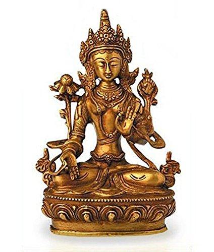 Deko Figur Weiße Tara Buddha Figur, Figur aus Messing massiv, Höhe 20 cm groß, eine der 21 Taras Dölma Statue weiblicher Buddha auf Lotusthron (Messing Statue Buddha Große)