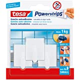 tesa Powerstrips Small - Pack de 3 ganchos pequeños rectangulares, color blanco y 4 tiras