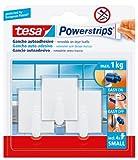 Ganchos pequeños adhesivos tesa Powerstrips, (3 ganchos + 4 tiras adhesivas), color blanco