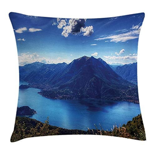 Nature Decor Throw Pillow Cushion Cover, Panorama of The Camo Lake with Mountains Clouds Mother Earth Paradise Landscape, Decorative Square Accent Pillow Case, 18 X 18 Inches, Blue