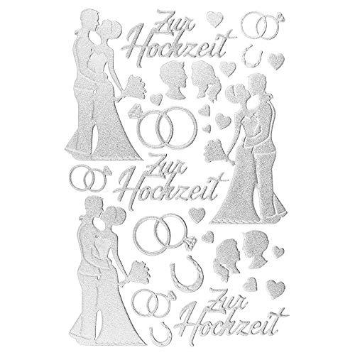 Ideen mit Herz 3-D Sticker Deluxe, zur Hochzeit, Verschiedene Hochzeitsmotive, erhabene Aufkleber, Bogengröße: 21 x 30 cm (Silber) -