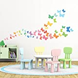 Decowall DW-1613 Sweet Butterflies Kids Wall Stickers Wall Decals Peel and Stick Removable Wall Stickers for Kids Nursery Bedroom Living Room